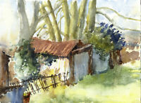 Contemporary Watercolour - Rusted Sheds in the Country