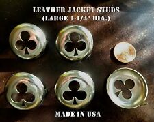 """Leather Jacket studs Ace of Clubs LARGE 1-1/4""""  5 pk  59 Cafe Racer  made in USA"""