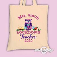 Large PERSONALISED  Bag Thank You Teacher School  Lockdown Owl Natural