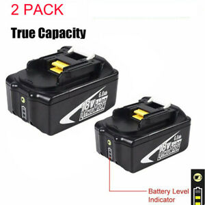 TRUE CAPACITY 2 PACK for Makita 18V Li-ion Battery 6.0Ah with Charge Indicator