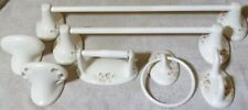 LOT Porcelain Floral Shabby Chic Towel Holders Hook Soap Toothbrush Toilet Paper
