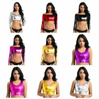 Womens Shiny Metallic Vest Slim Fit Tube Crop Top Tank Tops T-Shirt Blouse Shirt