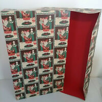 Large Vintage Christmas Gift Box with Santa, Toys - Rare Red Inside Color