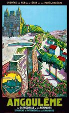 Affiche chemin de fer Etat & PO - Angoulême