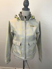 Women's M Foursquare Heavy Winter Jacket Beige & Yellow Geometric Striped Plaid