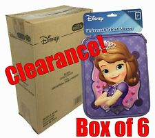 "New Box Lot of 6 Disney Sofia 7"" Universal Tablet & E-Reader Sleeves Clearance"