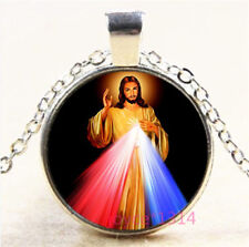 Christ Jesus Cabochon Silver/Bronze/Black/Gold Glass Chain Pendant Necklace#6866