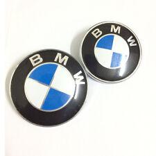 2PCS 82/73mm Blue White Emblems Front/Rear Badges For BMW e28 e34 325i e39 e46