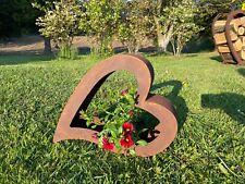 Edelrost Herz aus Metall Gartendeko  Terrasse Pflanzschale Dekoration für Garten
