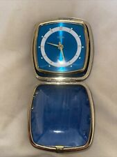 More details for vintage coral blue travel alarm clock, wind-up, circa 1965