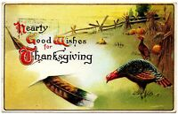 Hearty Good Wishes for Thanksgiving Vintage Embossed Postcard 1914 San Francisco