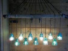 Vintage Wood Horse Wagon YOKE Telegraph Glass Insulator Light Fixture Chandelier