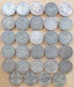 Bulk lot of 29 Silver Florins. Pre-1947. 324g.