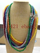 New Natural 2x4mm Multicolor Abacus Gemstone Beads Necklace 18'' AAA