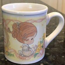 1997 Enesco Precious Moments Coffee Mug Cup Month March Girl Daffodils
