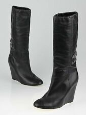 NEW Chanel Black Leather CC Jeweled LOGO WEDGE BOOTS Embellished Shoes 39.5 41