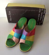 Vintage Jacques Levine Multi-Color Leather Shoes 7B Mule Heel Sandal House Shoe