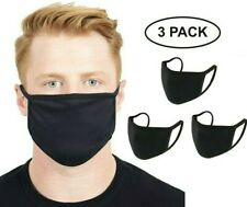 JKS Black Cotton Washable Reusable Men Face Mask UK Breathable Covering 3 Pack