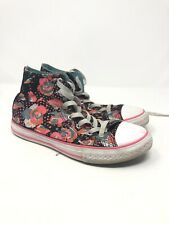 Converse Size 5 Junior Ct All Stars Hi Top 654210 Sneakers Black/White Floral