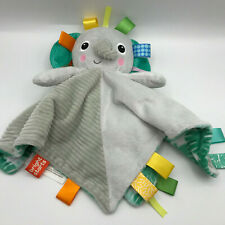 "Bright Starts Taggies Elephant Plush Lovey Security Blanket Tags Gray 14"" Square"