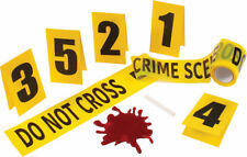 Forensic Unit Police Crime Scene Tape Evidence Markers 8 Piece Kit Halloween
