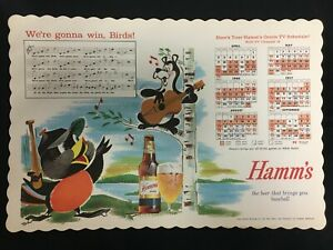 1961 UNUSED HAMM'S BEER MLB BALTIMORE ORIOLES W/FIGHT SONG 11X14 POSTER M 51320