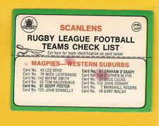 Checklist 1978 Season NRL & Rugby League Trading Cards