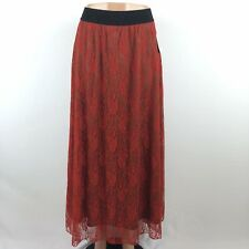 NEW NWT LULAROE LUCY Skirt Long Red Lace W/ Brown Underlay Women M