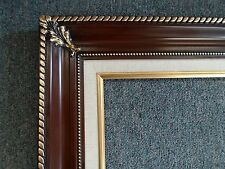 Picture Frame- 24x36-Vintage Antique Style Ornate Brown/Gold w Linen liner #296W
