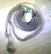 Cute ZAD Tribal necklace Faux Turquoise Sliver tone BOHO