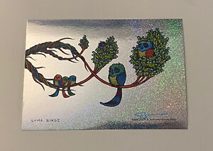 Marq Spusta Art Print Some Birds Signed Mini Silkscreen Sparkle Foil RARE UV Ink