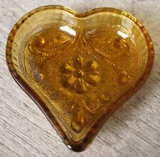 """Vintage Indiana Sandwich Glass """"Tiara"""" Heart Suit Snack Dish"""