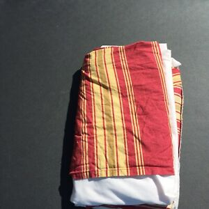 Queen Sized Bed Skirt Laura Ashley Lifestyles Red Tan Green Striped 100% Cotton