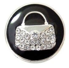 Black Rhinestone Purse Bag 20mm Snap Interchangeable Jewelry For Ginger Snaps