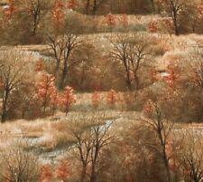 "1 yd 17"" Wild Pheasants Hautman Brothers Quilting Treasures Trees Fields Brown"