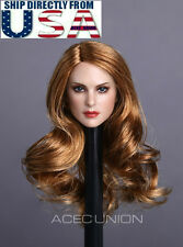 "1/6 Female Head Sculpt Long Blonde Curly Hair For 12"" PHICEN Hot Toys Figure USA"