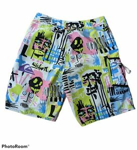 Quiksilver Board Shorts Mens 34 War Paint 2004 All Over Print Swim Surf Unlined