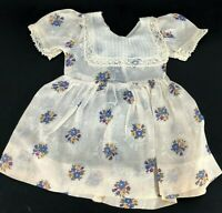 True Vintage Organdy Doll Dress Lace Floral Pattern Clothing Collar Antique Old
