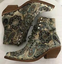 NEW Jeffrey Campbell Elmcroft Velvet Boots Size 6 Paisley Velvet