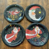 Stephanie Stouffer Set of 4 Christmas Whimsical Santa Decor Plates Holiday