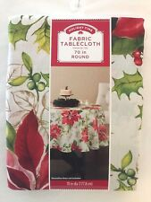 Holiday Time Fabric Tablecloth - You Pick - Christmas Traditional Poinsettia NIP
