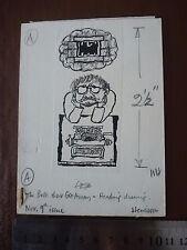 """Original Self Portrait frustrated author ARTWORK .. Pen & Ink orig 20th C illus"""""""