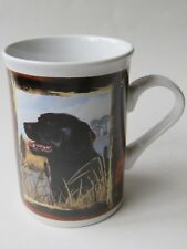 Coffee Cup Tea Mug ~ Black Labrador Dog in Marsh, Field, Hunting Scene Frame
