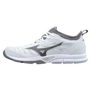 New Mens Mizuno Baseball Player's Trainer 2 Turf Shoes White / Grey Sz 9.5 M