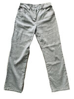 Per Una M&S Light Grey Linen Cotton Blend Trousers Straight Leg Pockets Size 12S