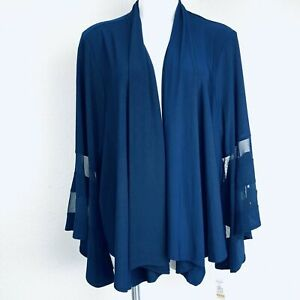R&M Richards Navy Stretch Bell Sleeves No Button Women Jacket. Size 3X. NWT