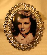 Lovely Swirled Rim Silvertn Black White Kate Katherine Hepburn Photo Brooch Pin