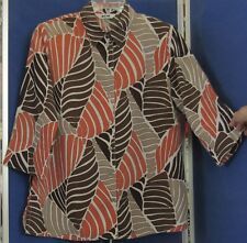 EUC Beautiful TUNIC TOP by ALIA Browns White & Orange Sz 12 EASY CARE Polyester