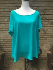 Torrid Women's Sz 2 Aqua Blue Short Sleeve Blouse Top Sheer Overlay