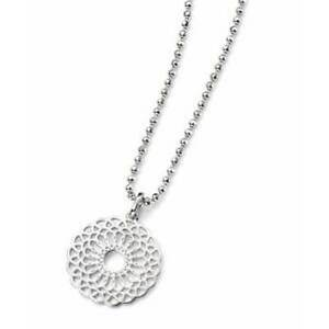 """Elements Silver Disc Pendant with Geometric Cut-out Pattern,16""""Chain,P3964"""